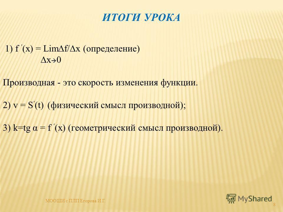 ИТОГИ УРОКА 1) f (х) = Limf/х (определение) х 0 Производная - это скорость изменения функции. 2) v = S (t) (физический смысл производной); 3) k=tg α = f (х) (геометрический смысл производной). 8 МООШИ с ПЛП Егорова И.Г.