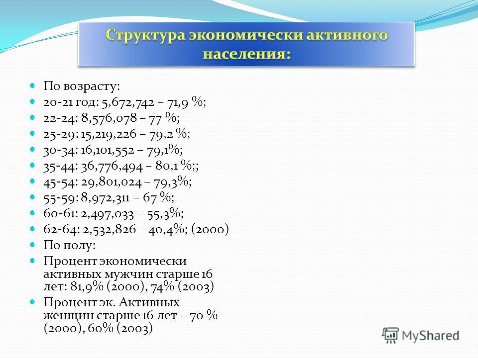 По возрасту: 20-21 год: 5,672,742 – 71,9 %; 22-24: 8,576,078 – 77 %; 25-29: 15,219,226 – 79,2 %; 30-34: 16,101,552 – 79,1%; 35-44: 36,776,494 – 80,1 %;; 45-54: 29,801,024 – 79,3%; 55-59: 8,972,311 – 67 %; 60-61: 2,497,033 – 55,3%; 62-64: 2,532,826 –
