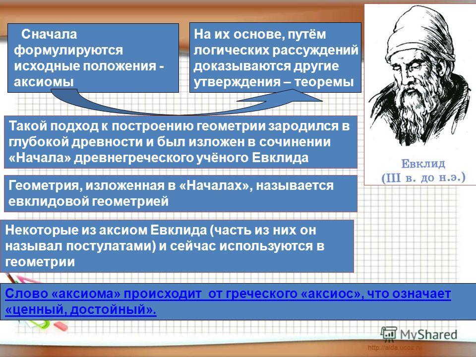 Сначала формулируются исходные положения - аксиомы На их основе, путём логических рассуждений доказываются другие утверждения – теоремы Такой подход к построению геометрии зародился в глубокой древности и был изложен в сочинении «Начала» древнегречес