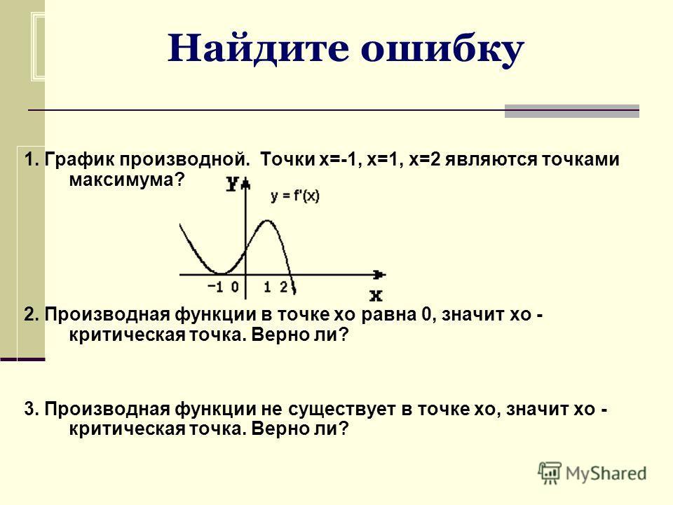 Найдите ошибку 1. График производной. Точки х=-1, х=1, х=2 являются точками максимума? 2. Производная функции в точке хо равна 0, значит хо - критическая точка. Верно ли? 3. Производная функции не существует в точке хо, значит хо - критическая точка.