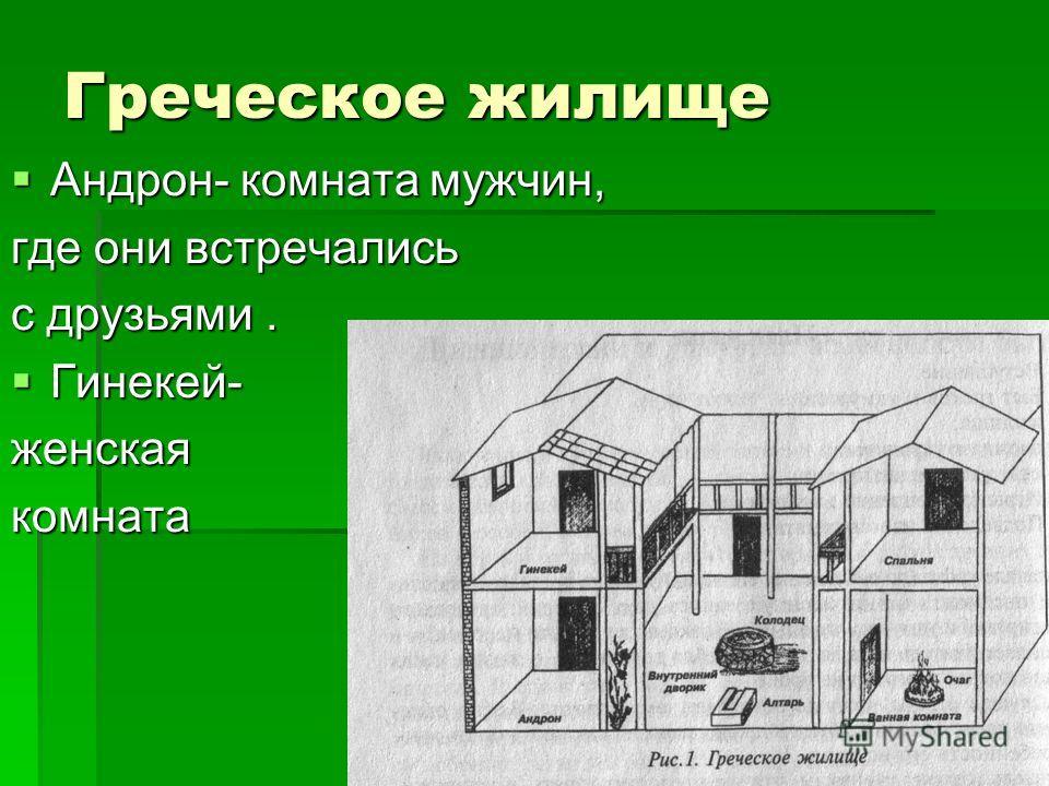 Греческое жилище Андрон- комната мужчин, Андрон- комната мужчин, где они встречались с друзьями. Гинекей- Гинекей-женская комната