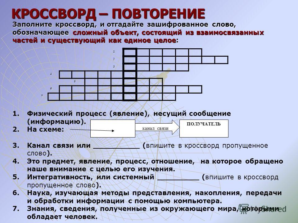 КРОССВОРД – ПОВТОРЕНИЕ Заполните кроссворд, и отгадайте зашифрованное слово, обозначающее сложный объект, состоящий из взаимосвязанных частей и существующий как единое целое: 1. Физический процесс (явление), несущий сообщение (информацию). 2. На схем