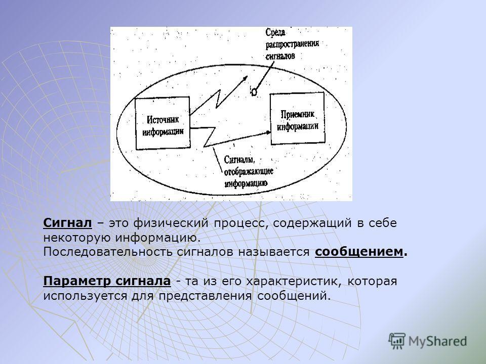 Сигнал – это физический процесс, содержащий в себе некоторую информацию. Последовательность сигналов называется сообщением. Параметр сигнала - та из его характеристик, которая используется для представления сообщений.