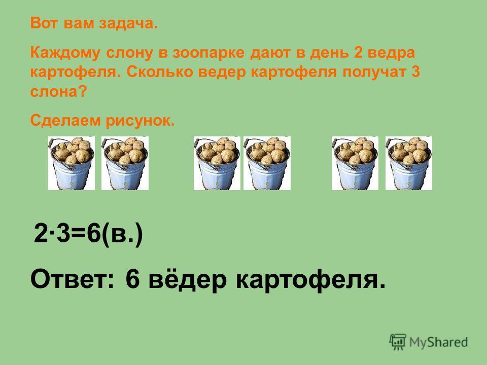 Вот вам задача. Каждому слону в зоопарке дают в день 2 ведра картофеля. Сколько ведер картофеля получат 3 слона? Сделаем рисунок. 23=6(в.) Ответ: 6 вёдер картофеля.
