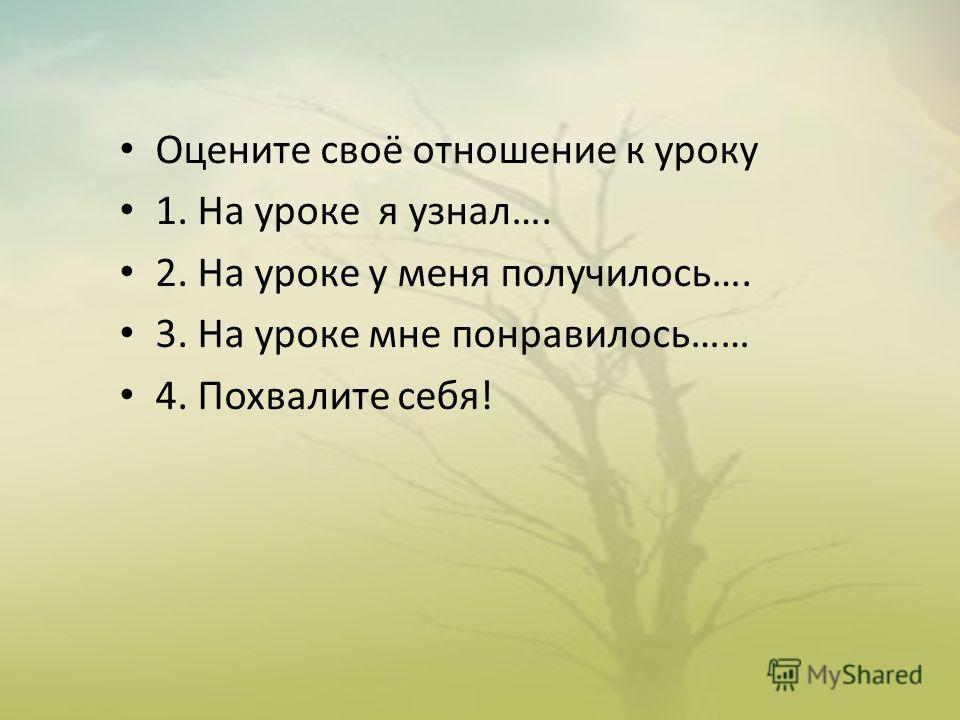 Оцените своё отношение к уроку 1. На уроке я узнал…. 2. На уроке у меня получилось…. 3. На уроке мне понравилось…… 4. Похвалите себя!
