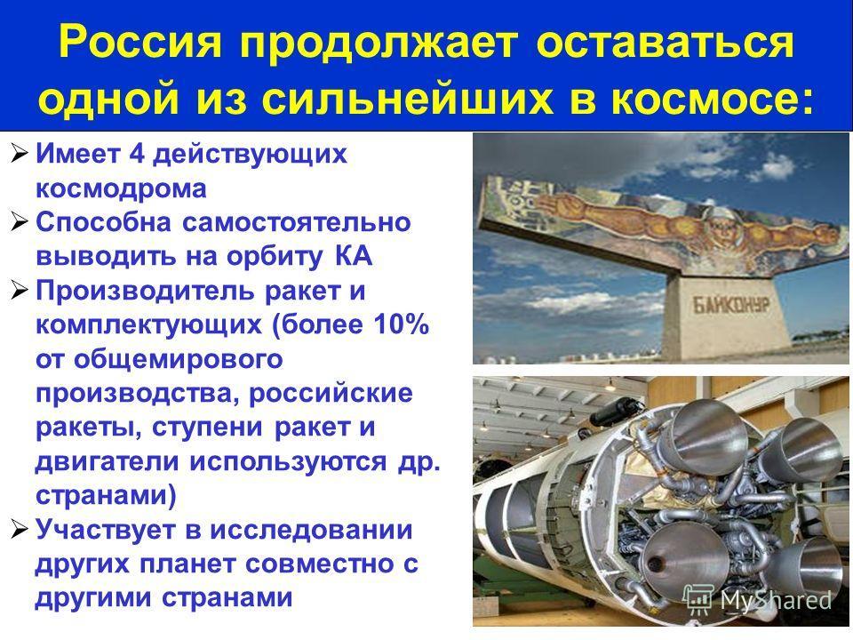 Имеет 4 действующих космодрома Способна самостоятельно выводить на орбиту КА Производитель ракет и комплектующих (более 10% от общемирового производства, российские ракеты, ступени ракет и двигатели используются др. странами) Участвует в исследовании