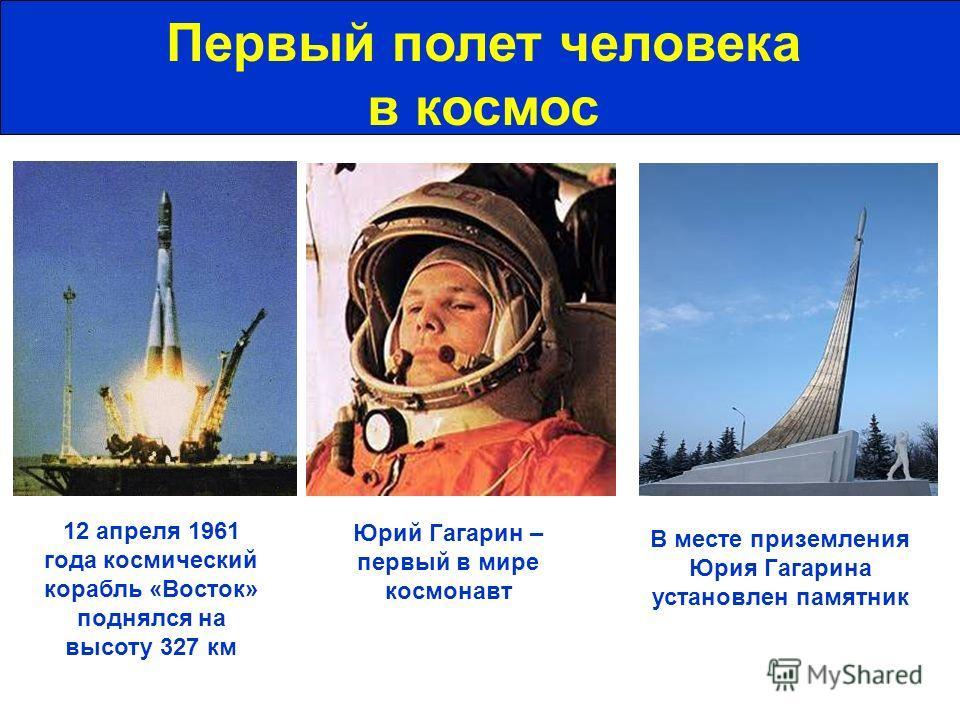 Первый полет человека в космос Юрий Гагарин – первый в мире космонавт 12 апреля 1961 года космический корабль «Восток» поднялся на высоту 327 км В месте приземления Юрия Гагарина установлен памятник