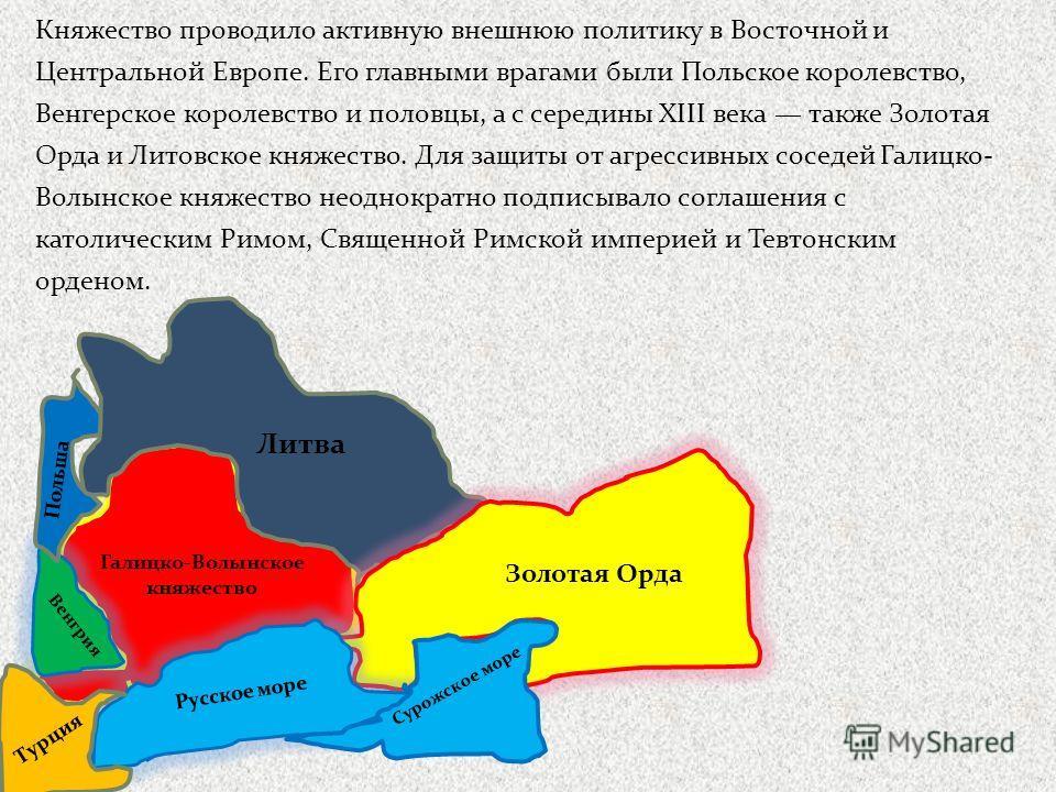 Княжество проводило активную внешнюю политику в Восточной и Центральной Европе. Его главными врагами были Польское королевство, Венгерское королевство и половцы, а с середины XIII века также Золотая Орда и Литовское княжество. Для защиты от агрессивн