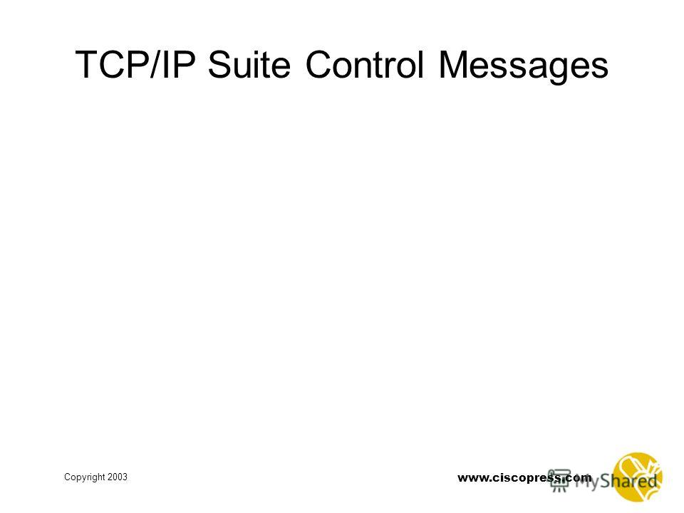 www.ciscopress.com Copyright 2003 TCP/IP Suite Control Messages
