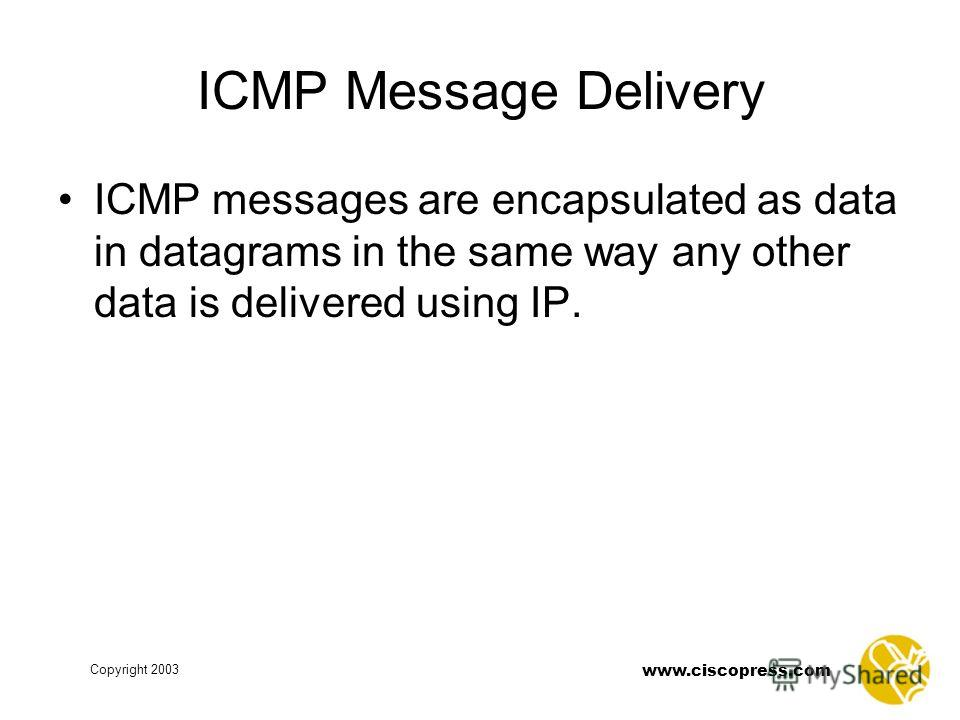 www.ciscopress.com Copyright 2003 ICMP Message Delivery ICMP messages are encapsulated as data in datagrams in the same way any other data is delivered using IP.