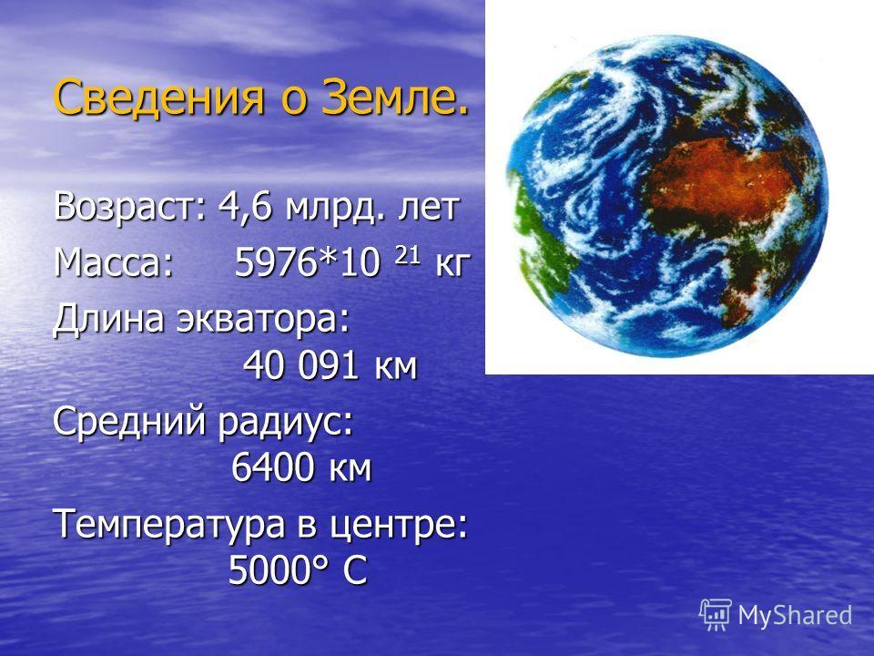 Сведения о Земле. Возраст: 4,6 млрд. лет Масса: 5976*10 21 кг Длина экватора: 40 091 км Средний радиус: 6400 км Температура в центре: 5000° С