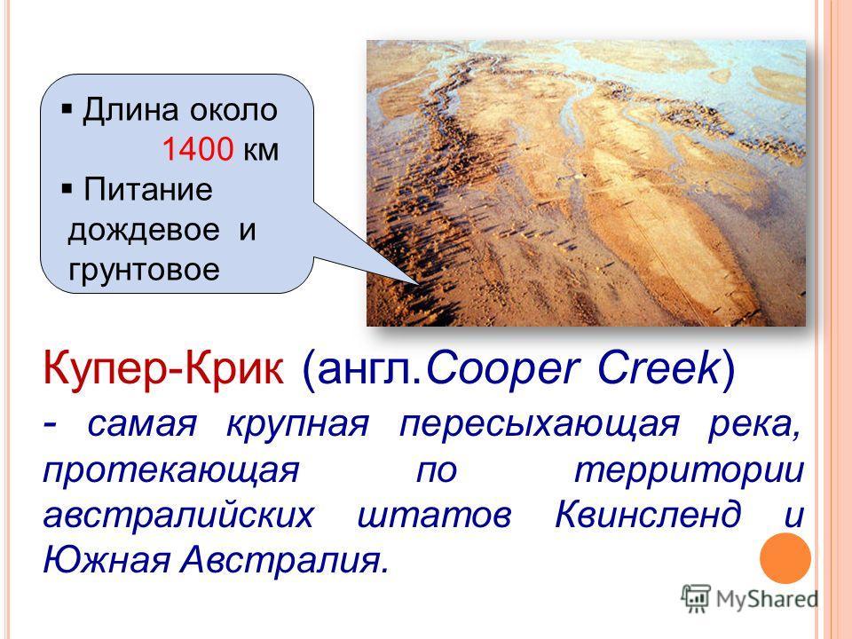 Купер-Крик (англ.Cooper Creek) - самая крупная пересыхающая река, протекающая по территории австралийских штатов Квинсленд и Южная Австралия. Длина около 1400 км Питание дождевое и грунтовое