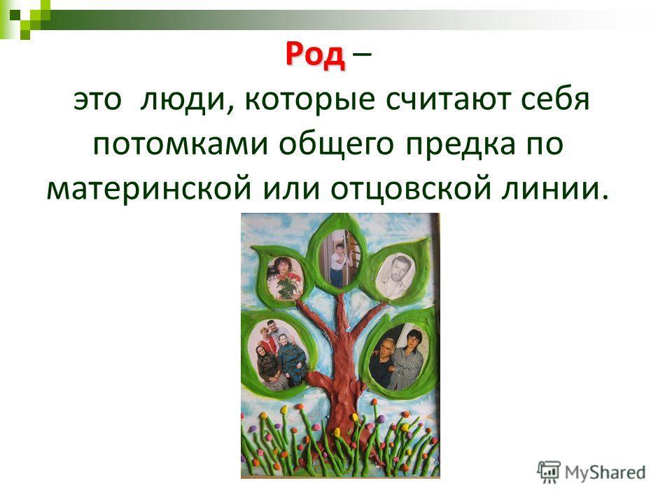 Род Род – это люди, которые считают себя потомками общего предка по материнской или отцовской линии.