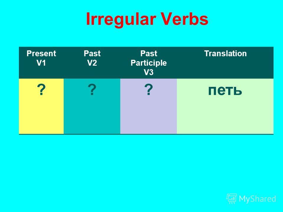 Irregular Verbs Present V1 Past V2 Past Participle V3 Translation ???петь