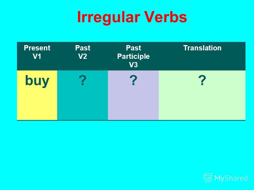 Irregular Verbs Present V1 Past V2 Past Participle V3 Translation buy???
