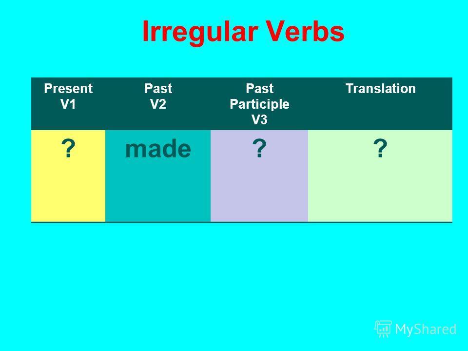 Irregular Verbs Present V1 Past V2 Past Participle V3 Translation ?made??