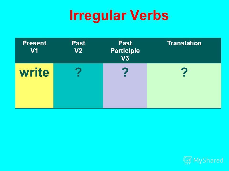 Irregular Verbs Present V1 Past V2 Past Participle V3 Translation write???