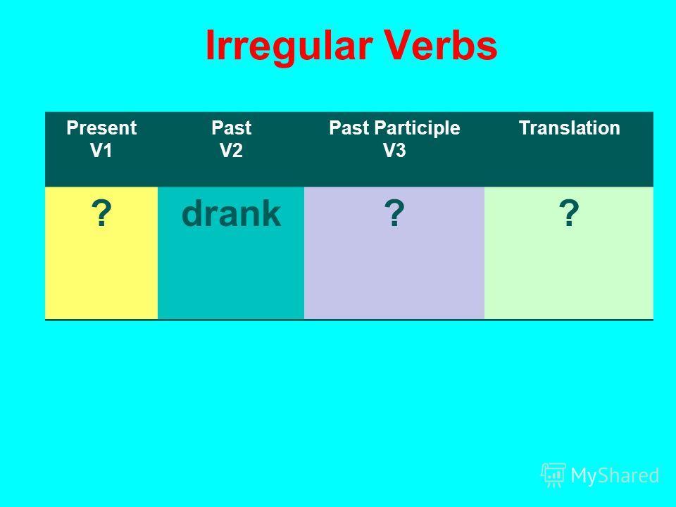 Irregular Verbs Present V1 Past V2 Past Participle V3 Translation ?drank??
