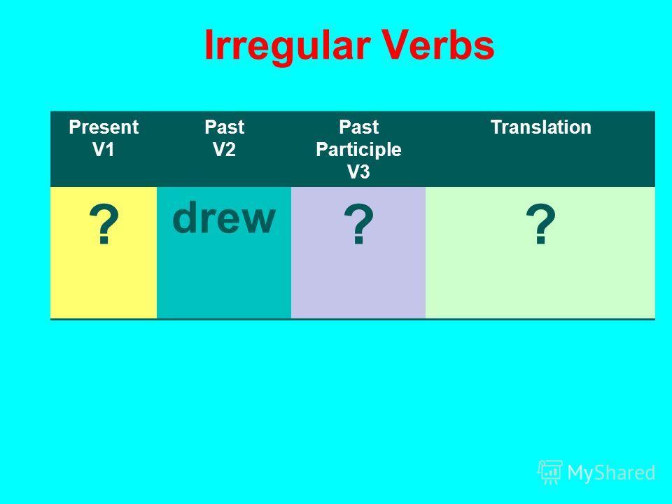 Irregular Verbs Present V1 Past V2 Past Participle V3 Translation ? drew ??