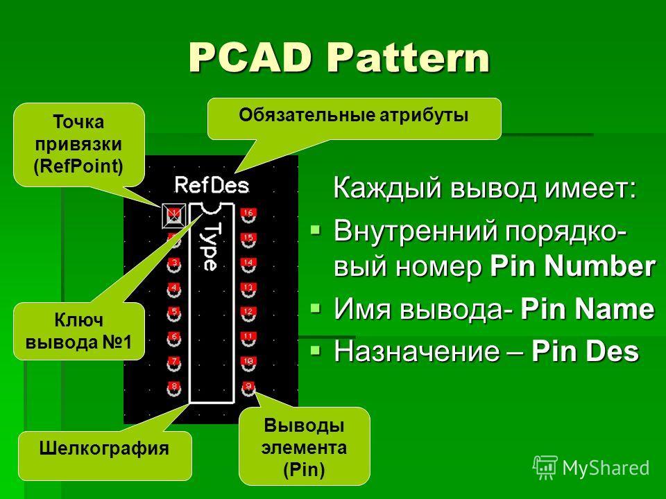 PCAD Pattern Каждый вывод имеет: Каждый вывод имеет: Внутренний порядковый номер Pin Number Внутренний порядковый номер Pin Number Имя вывода- Pin Name Имя вывода- Pin Name Назначение – Pin Des Назначение – Pin Des Точка привязки (RefPoint) Выводы эл