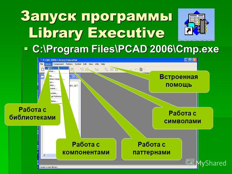 Запуск программы Library Executive C:\Program Files\PCAD 2006\Cmp.exe C:\Program Files\PCAD 2006\Cmp.exe Работа с библиотеками Работа с компонентами Работа с паттернами Работа с символами Встроенная помощь