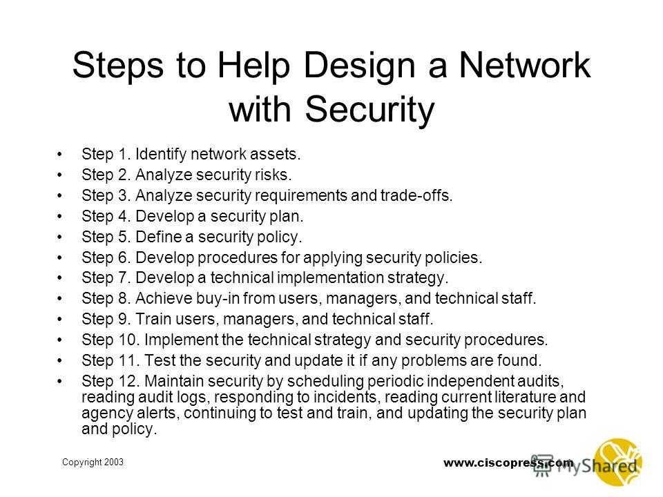 www.ciscopress.com Copyright 2003 Steps to Help Design a Network with Security Step 1. Identify network assets. Step 2. Analyze security risks. Step 3. Analyze security requirements and trade-offs. Step 4. Develop a security plan. Step 5. Define a se