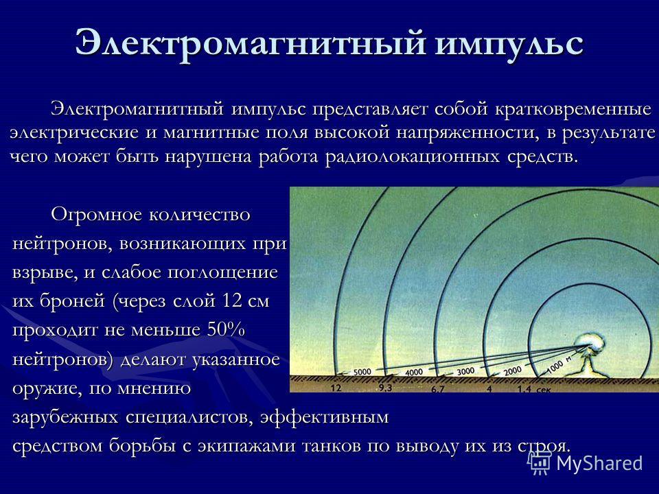 Электромагнитный импульс Электромагнитный импульс представляет собой кратковременные электрические и магнитные поля высокой напряженности, в результате чего может быть нарушена работа радиолокационных средств. Огромное количество нейтронов, возникающ
