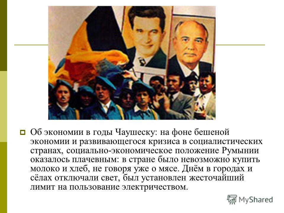 Об экономии в годы Чаушеску: на фоне бешеной экономии и развивающегося кризиса в социалистических странах, социально-экономическое положение Румынии оказалось плачевным: в стране было невозможно купить молоко и хлеб, не говоря уже о мясе. Днём в горо
