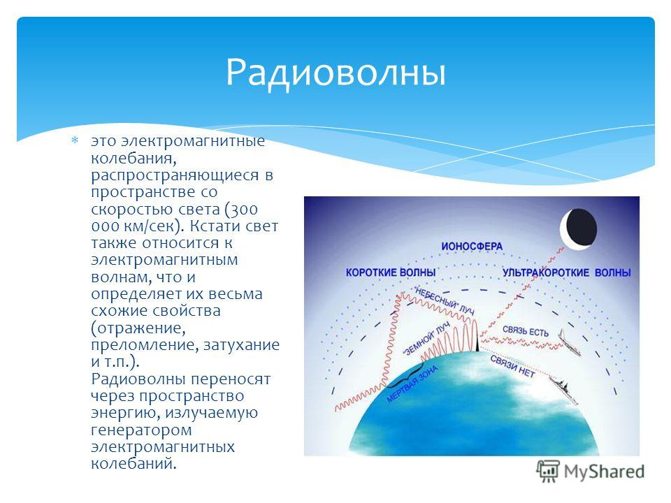 это электромагнитные колебания, распространяющиеся в пространстве со скоростью света (300 000 км/сек). Кстати свет также относится к электромагнитным волнам, что и определяет их весьма схожие свойства (отражение, преломление, затухание и т.п.). Радио