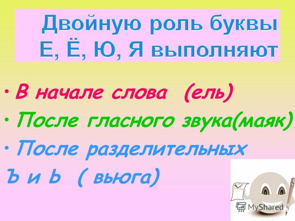 В начале слова (ель) После гласного звука(маяк) После разделительных Ъ и Ь ( вьюга)