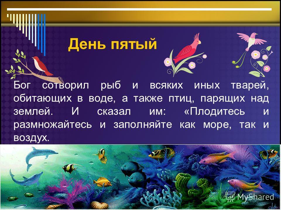 День пятый Бог сотворил рыб и всяких иных тварей, обитающих в воде, а также птиц, парящих над землей. И сказал им: «Плодитесь и размножайтесь и заполняйте как море, так и воздух.