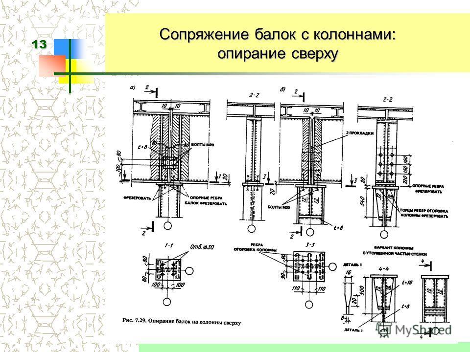13 Сопряжение балок с колоннами: опирание сверху