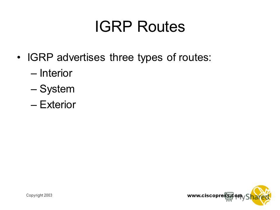 www.ciscopress.com Copyright 2003 IGRP Routes IGRP advertises three types of routes: –Interior –System –Exterior