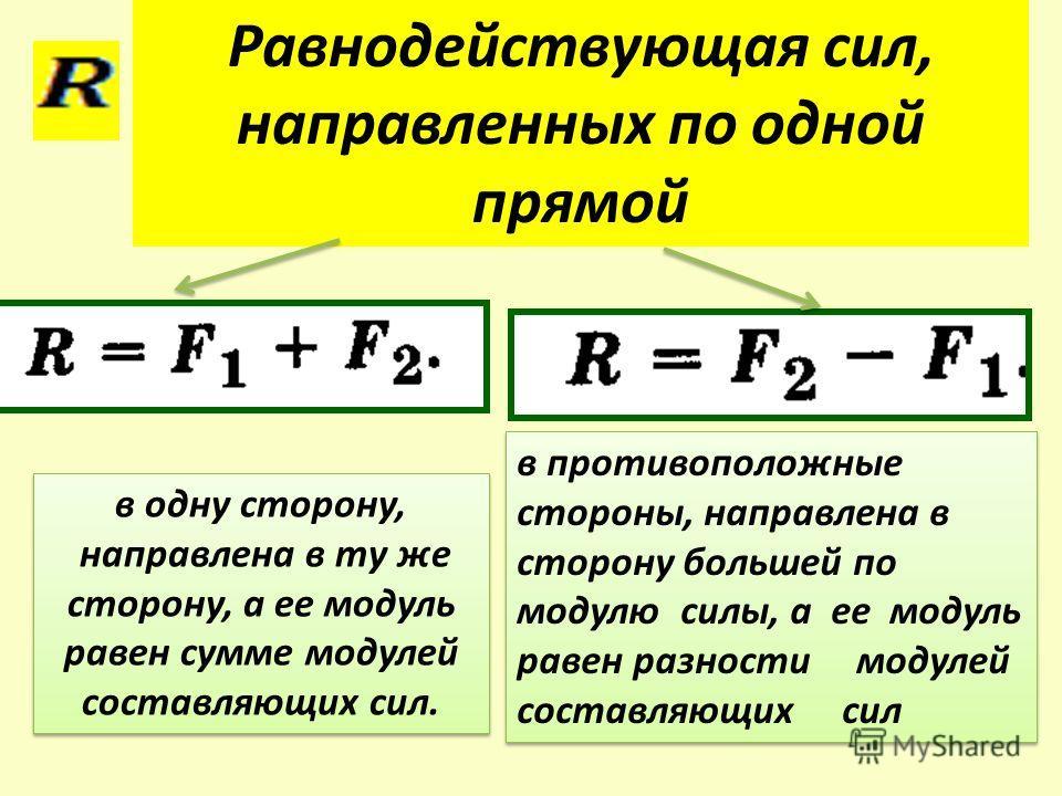 в одну сторону, направлена в ту же сторону, а ее модуль равен сумме модулей составляющих сил. в одну сторону, направлена в ту же сторону, а ее модуль равен сумме модулей составляющих сил. Равнодействующая сил, направленных по одной прямой в противопо
