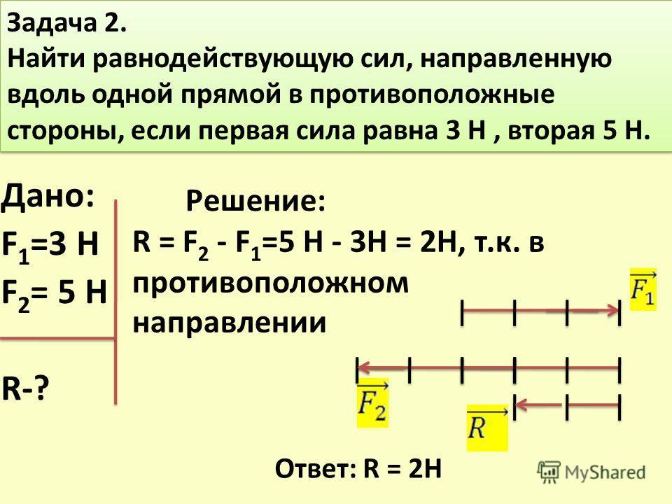 Задача 2. Найти равнодействующую сил, направленную вдоль одной прямой в противоположные стороны, если первая сила равна 3 Н, вторая 5 Н. Задача 2. Найти равнодействующую сил, направленную вдоль одной прямой в противоположные стороны, если первая сила
