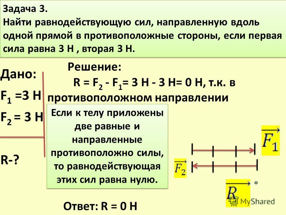 Задача 3. Найти равнодействующую сил, направленную вдоль одной прямой в противоположные стороны, если первая сила равна 3 Н, вторая 3 Н. Задача 3. Найти равнодействующую сил, направленную вдоль одной прямой в противоположные стороны, если первая сила