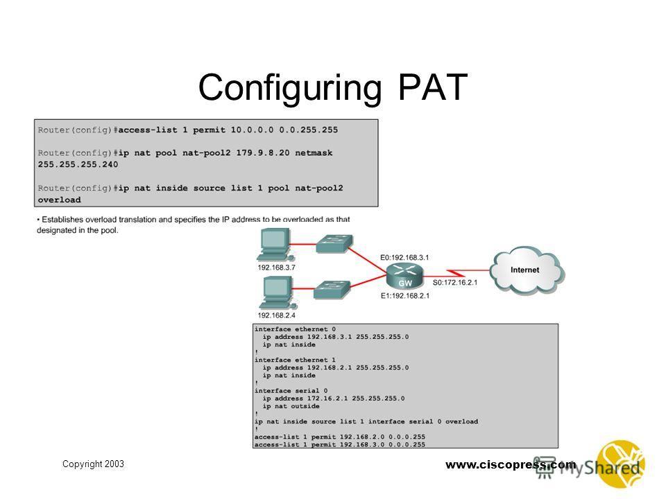 www.ciscopress.com Copyright 2003 Configuring PAT