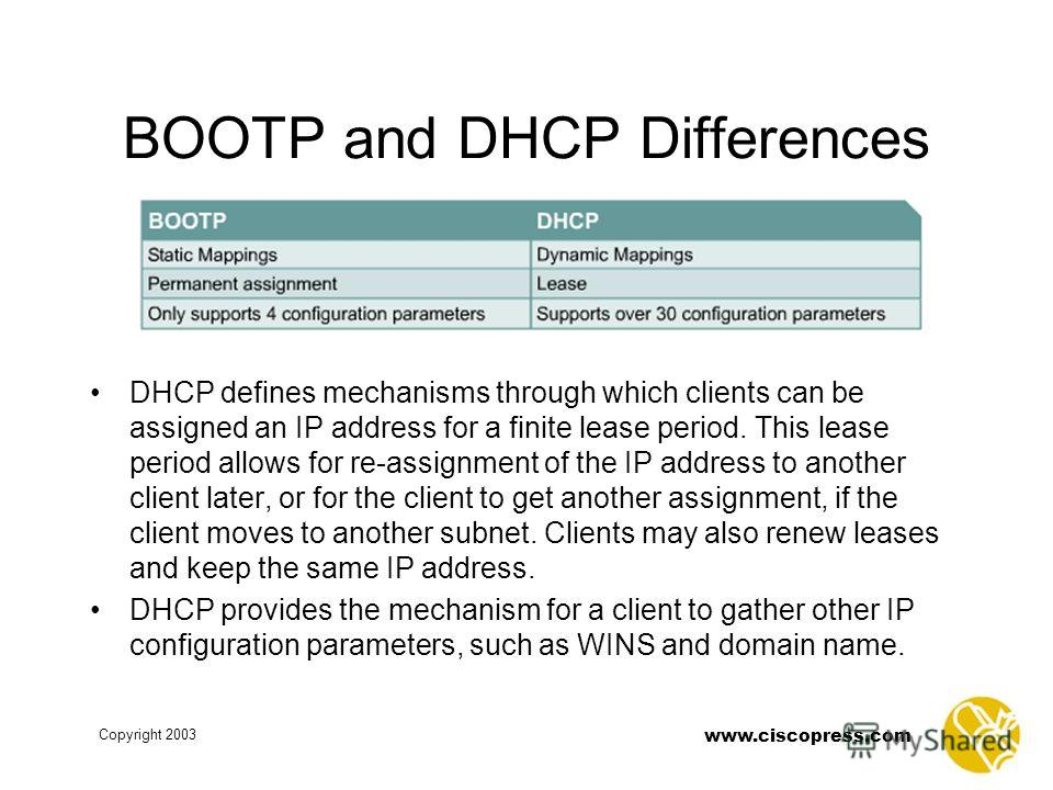 www.ciscopress.com Copyright 2003 BOOTP and DHCP Differences DHCP defines mechanisms through which clients can be assigned an IP address for a finite lease period. This lease period allows for re-assignment of the IP address to another client later,