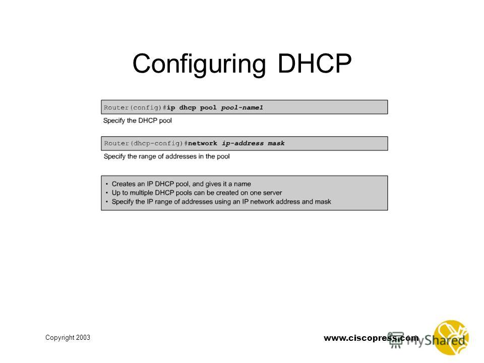 www.ciscopress.com Copyright 2003 Configuring DHCP