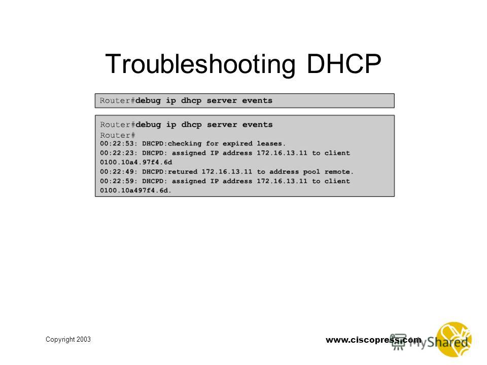 www.ciscopress.com Copyright 2003 Troubleshooting DHCP