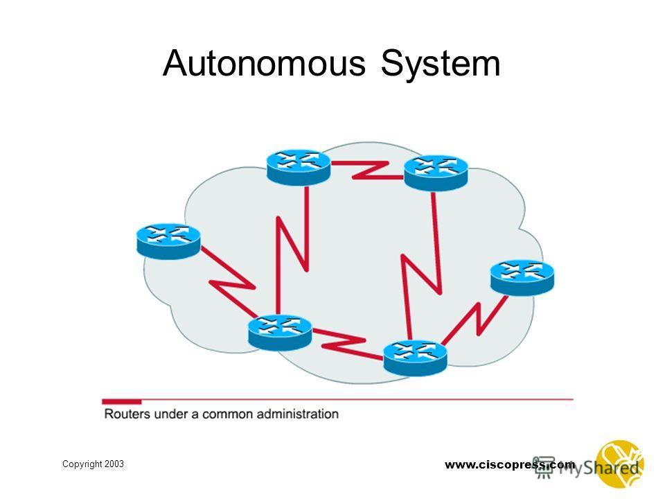 www.ciscopress.com Copyright 2003 Autonomous System