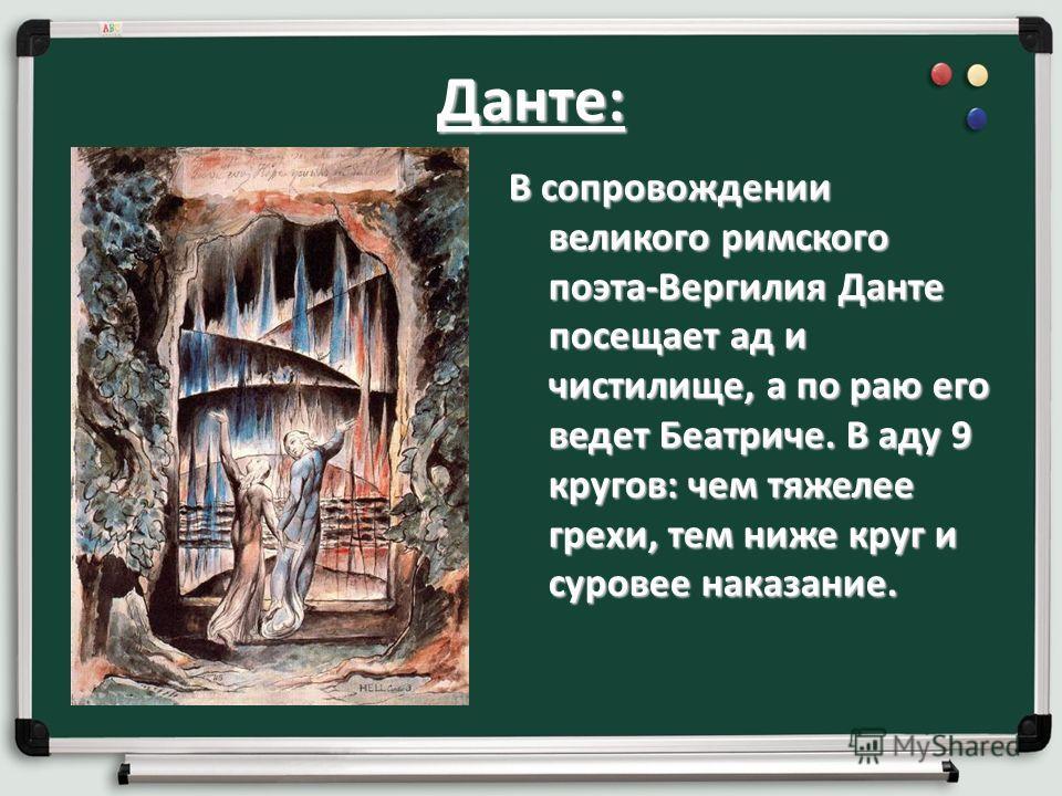 Данте: В сопровождении великого римского поэта-Вергилия Данте посещает ад и чистилище, а по раю его ведет Беатриче. В аду 9 кругов: чем тяжелее грехи, тем ниже круг и суровее наказание.