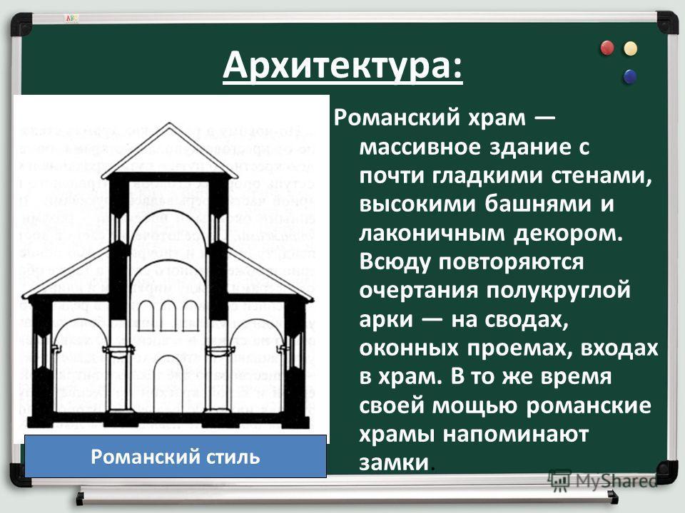 Архитектура: Романский храм массивное здание с почти гладкими стенами, высокими башнями и лаконичным декором. Всюду повторяются очертания полукруглой арки на сводах, оконных проемах, входах в храм. В то же время своей мощью романские храмы напоминают