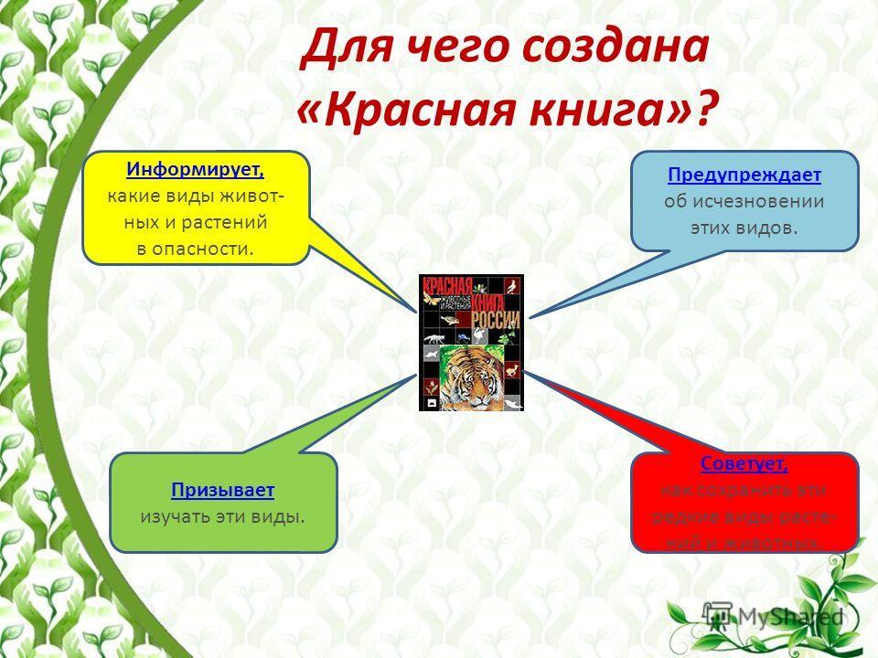 Для чего создана «Красная книга»? Информирует, какие виды животных и растений в опасности. Советует, как сохранить эти редкие виды растений и животных. Призывает изучать эти виды. Предупреждает об исчезновении этих видов.