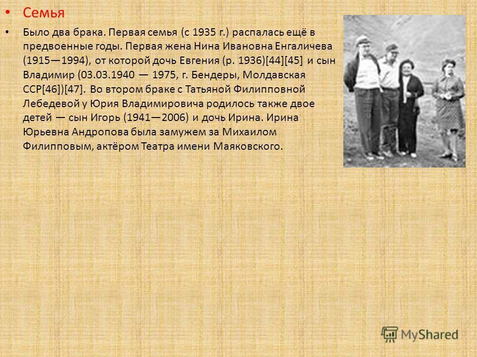 Семья Было два брака. Первая семья (с 1935 г.) распалась ещё в предвоенные годы. Первая жена Нина Ивановна Енгаличева (19151994), от которой дочь Евгения (р. 1936)[44][45] и сын Владимир (03.03.1940 1975, г. Бендеры, Молдавская ССР[46])[47]. Во второ