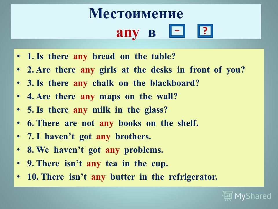 Местоимение any в 1. Is there any bread on the table? 2. Are there any girls at the desks in front of you? 3. Is there any chalk on the blackboard? 4. Are there any maps on the wall? 5. Is there any milk in the glass? 6. There are not any books on th