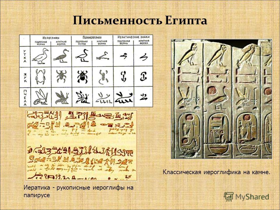 Письменность Египта Классическая иероглифика на камне. Иератика - рукописные иероглифы на папирусе