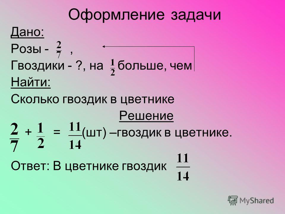 Оформление задачи Дано: Розы -, Гвоздики - ?, на больше, чем Найти: Сколько гвоздик в цветнике Решение + = (шт) –гвоздик в цветнике. Ответ: В цветнике гвоздик