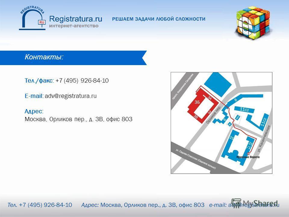 Контакты: Тел./факс: +7 (495) 926-84-10 E-mail: adv@registratura.ru Адрес: Москва, Орликов пер., д. 3В, офис 803
