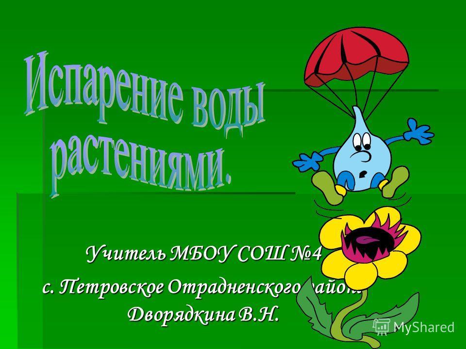Учитель МБОУ СОШ 4 с. Петровское Отрадненского района Дворядкина В.Н.